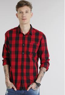 Camisa Masculina Xadrez Com Bolso Manga Longa Vermelha