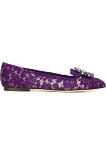 Dolce & Gabbana Slipper De Couro Modelo 'Vally' - Roxo
