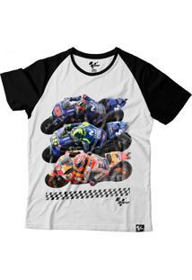 Camiseta Motogp Fan Riders - Branca Preta Grid Motors Fan Riders  Branco Preto db5bfa12ecde9
