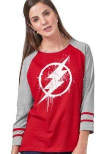 Camiseta Manga Longa Feminina The Flash Logo Spray - Feminino-Vermelho