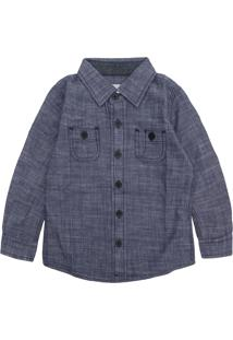 Camisa Malwee Kids Menino Lisa Azul