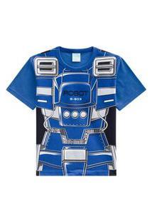 Camiseta Pijama Infantil Menino Kyly Azul