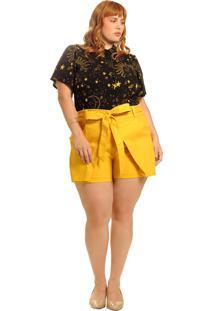 Short Saia Plus Size Vintage And Cats Com Laço Amarelo