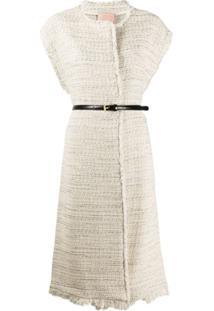 Twin-Set Colete Oversized De Tweed - Neutro