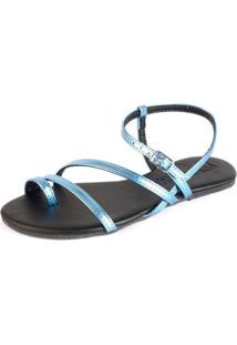 Sandália Rasteira Tiras Metalizada Tropical Fivela Casual Mercedita Shoes Feminina - Feminino-Azul Claro
