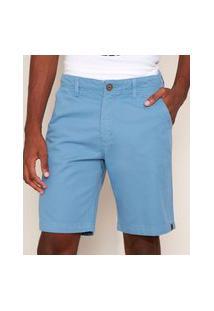 Bermuda De Sarja Masculina Reta Com Bolsos Azul Claro