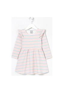 Vestido Infantil Listrado Manga Longa Com Babados - Tam 1 A 5 | Póim (1 A 5 Anos) | Multicores | 02