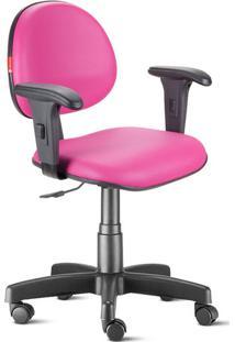 Cadeira Escritório Rosa Com Braços Executiva