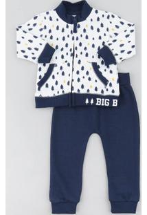 Conjunto Infantil De Jaqueta Bomber Estampada Off White + Calça Em Moletom Azul Marinho