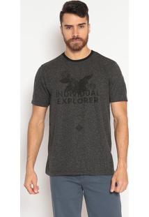 Camiseta Comfort Fit Com Inscrições - Cinza & Pretaindividual