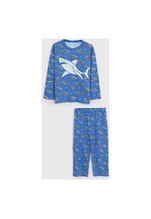 Pijama Kyly Longo Infantil Tubaráo Azul