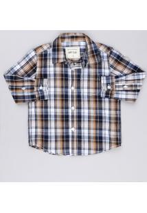 Camisa Infantil Xadrez Manga Longa Com Bolso Caramelo
