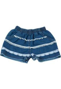 Short Infantil Ano Zero Indigo Stone Washed 3 Rendas Feminino - Feminino-Azul Claro