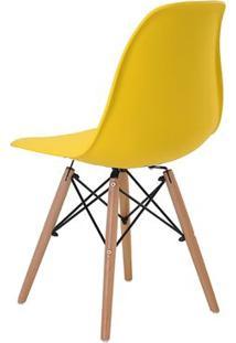 Cadeira Eames Eiffel Rivatti Sem Braço Pp Base Madeira Amarelo