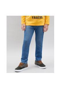 Calça Jeans Infantil Skinny Em Moletom Azul Claro