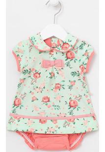 Vestido Body Infantil Estampa Floral Com Golsa Boneca - Tam 0 A 18 Meses