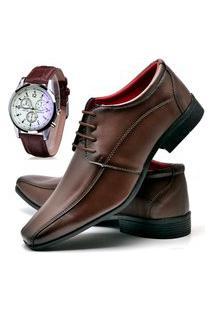 Sapato Social Masculino Asgard Com Relógio Db 804Lbm Marrom
