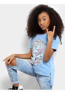 Camiseta Infantil Colcci Estampada Feminina - Feminino-Azul