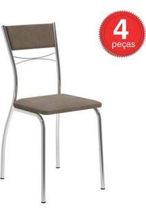 Cadeira 1701 Cromada 04 Unidades Tecido/Camurça Conhaque Carraro