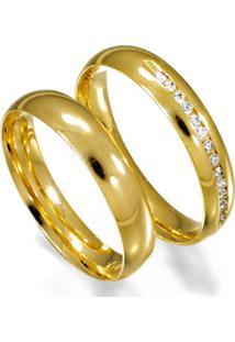 Aliança De Ouro Casamento Anatômica Com Diamante - As0900 + As0112