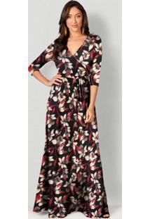 Vestido Longo Estampado Floral Preto