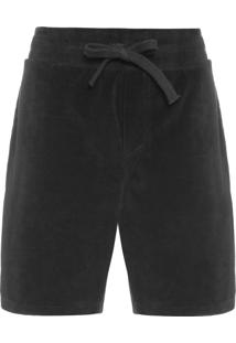 Bermuda Masculina Plush Side Stripes - Preto