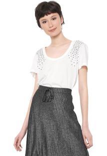 Camiseta Colcci Aplicações Off-White
