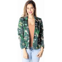 c6b435106 Blazer Floral- Verde Escuro & Nude- Dwzdwz