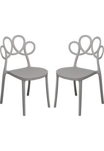 Kit 02 Cadeiras Decorativas Para Cozinha Laço Nude - Gran Belo