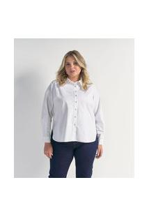 Camisa Alongada Em Tricoline Curve & Plus Size | Ashua Curve E Plus Size | Branco | G