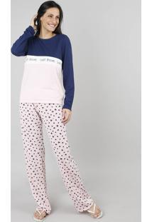 Pijama Feminino Manga Longa Azul Marinho