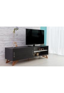 Rack Para Tv Preto Moderno Vintage Retrô Com Porta De Correr Preta Freddie - 160X43,6X48,5 Cm