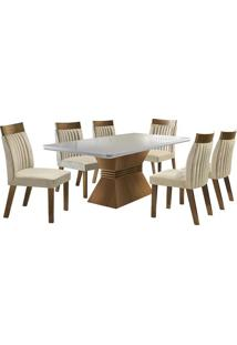 Conjunto De Mesa & Cadeiras Cronos- Castanho Fosco & Anilj Móveis