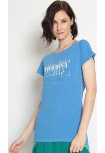 """Camiseta """"Vide Bulaâ®""""- Azul Escuro & Branca- Vide Buvide Bula"""
