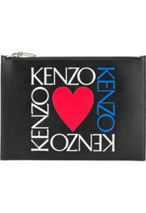 Kenzo Logo Print Clutch - Preto