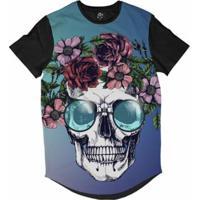 Camiseta Bsc Longline Caveira Coroa De Flores Masculina - Masculino c463f3f224b