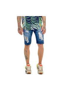 Bermuda Jeans Premium Offert Destroyed Skinny Com Lycra Azul