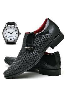 Sapato Social Masculino Asgard Com Relógio New Db 831Lbm Preto