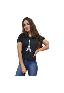Camiseta Feminina Gola V Cellos Eifel Tower Premium Preto