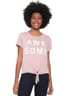Camiseta Fiveblu Awe Some Nó Rosa
