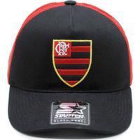 Boné Starter X Flamengo Aba Curva Preto Logo Oficial. b78ca7ef67e