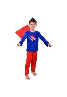 Pijama Ayron Super Homem Longo Masculino Infantil Azul Royal Algodão