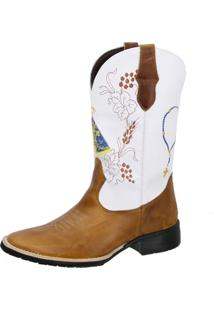 Bota Texana Country Texas Gold Bico Quadrado Nossa Senhora Marrom/Branco