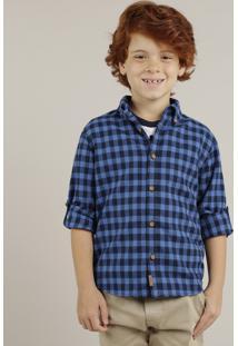 Camisa Infantil De Flanela Xadrez Manga Longa Azul