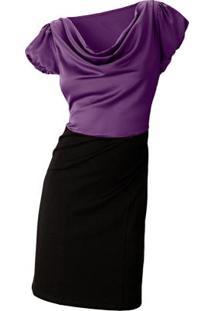 Vestido Tubinho Gola Rolê Roxo