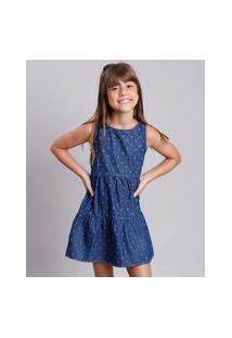 Vestido Jeans Infantil Estampado De Estrelas Sem Manga Azul Escuro