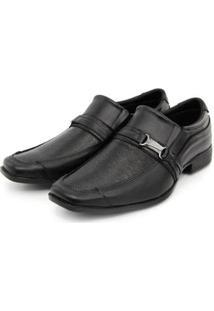 Sapato Social Masculino Couro Elástico Dia A Dia Conforto - Masculino-Preto