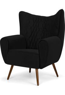 Poltrona Decorativa Para Sala De Estar Kora Pés Palito Tressê Suede Preto D-99 - Lyam Decor