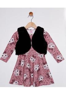 Vestido Com Colete Infantil Para Menina - Salmão