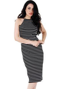 Vestido listrado preto e branco com no